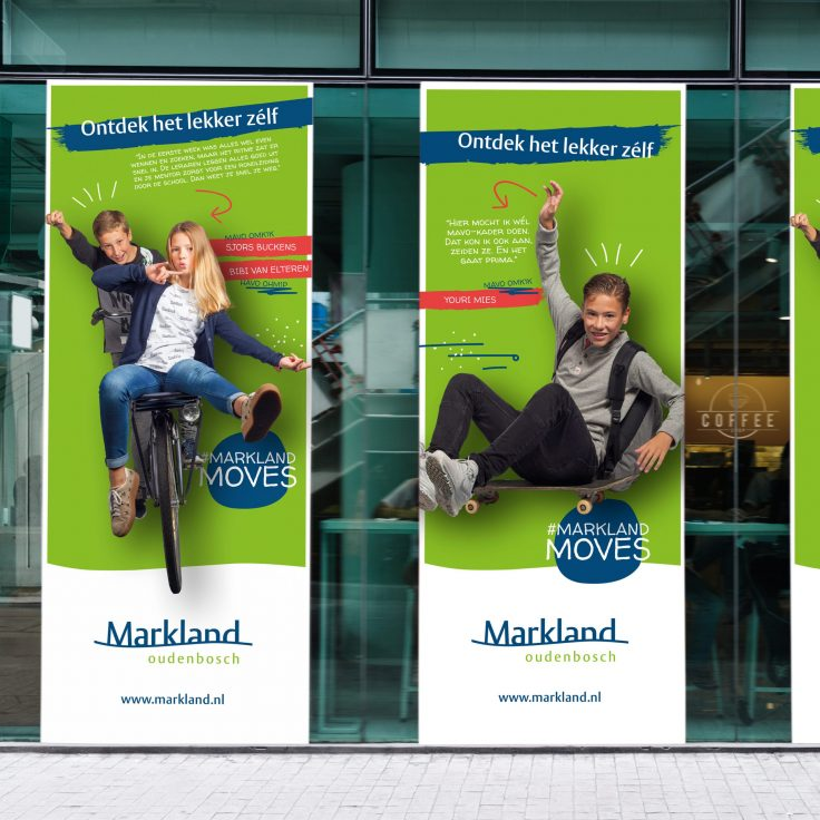 Three large banner mockups in front of a coffee shop